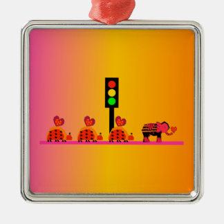 Stoplight with Heart Caravan, Dreamy Background Metal Ornament