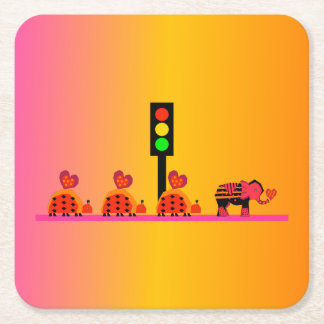 Stoplight with Heart Caravan, Dreamy Background Square Paper Coaster