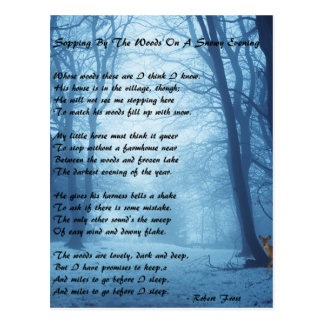 Stopping By The Woods by: Robert Frost Postcard