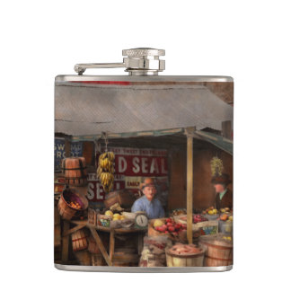 Store - Fruit - Grand dad's fruit stand 1939 Hip Flask