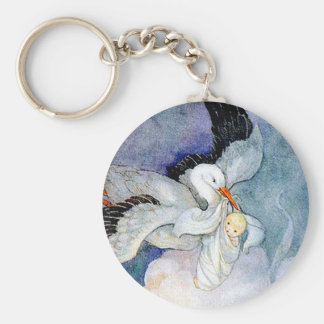 Stork and Baby Basic Round Button Key Ring