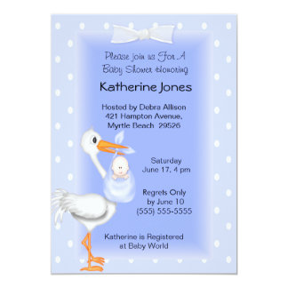 Stork and Baby  Boy Shower Invitations