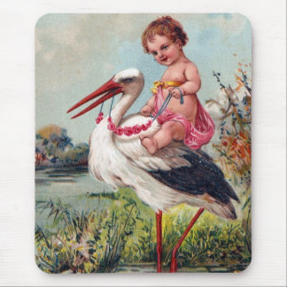 Stork and Baby From 1909 Mouse Pad