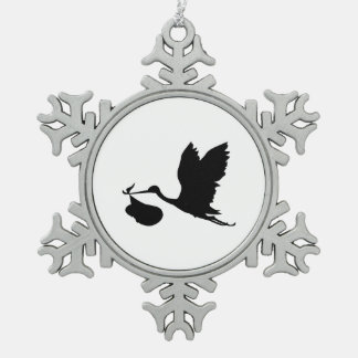 Stork and Bundle of Joy Silhouette Pewter Snowflake Decoration