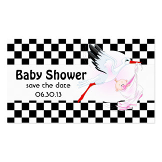 Stork and Checkerboard  Baby Shower Save the Date Business Card