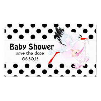 Stork and Polka Dots Baby Shower Save the Date Business Card Template