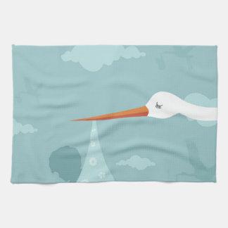 Stork and the kid tea towel