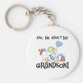 Stork Ask About Grandson Basic Round Button Key Ring