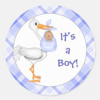 Stork & Baby Boy (dark skin) Baby Announcement Classic Round Sticker