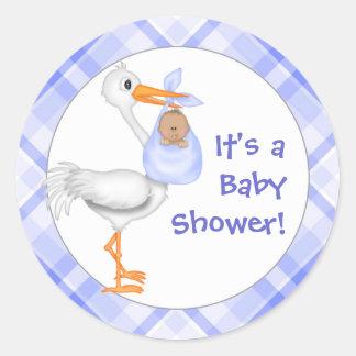 Stork & Baby Boy (dark skin) Baby Shower Classic Round Sticker