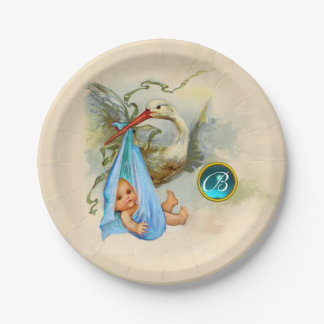 STORK BABY BOY SHOWER BLUE GEM STONE MONOGRAM PAPER PLATE