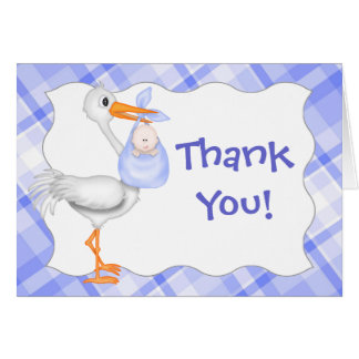 Stork & Baby Boy Thank You Card