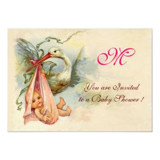 STORK BABY GIRL SHOWER MONOGRAM 13 CM X 18 CM INVITATION CARD