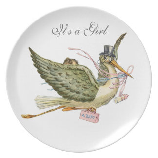 STORK BABY GIRL SHOWER PLATE