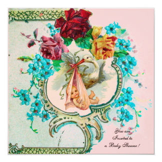 STORK BABY GIRL SHOWER WITH PINK ROSES AND FLOWERS 13 CM X 13 CM SQUARE INVITATION CARD