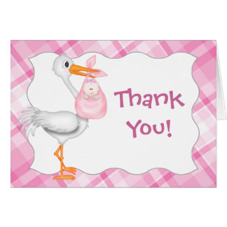 Stork & Baby Girl Thank You Card