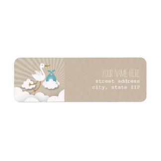 Stork Baby Shower Address Label - Blue