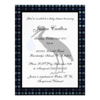 Stork Baby Shower - Blue Custom Invitations