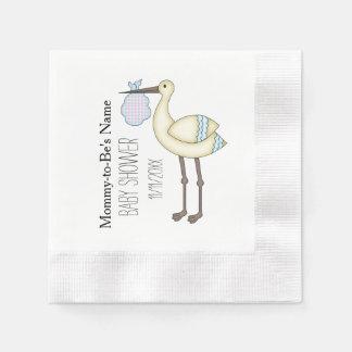 Stork Baby Shower Blue Personalized Paper Napkins Disposable Serviette