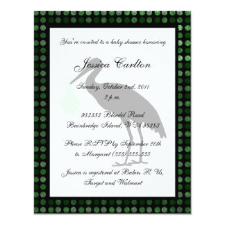 Stork Baby Shower - Green 11 Cm X 14 Cm Invitation Card