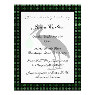 Stork Baby Shower - Green Invite