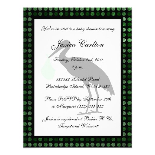 Stork Baby Shower - Green Invite