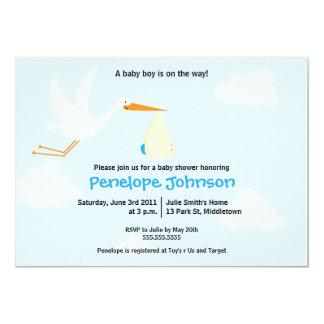 Stork Baby Shower Invitation - Boy