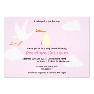 Stork Baby Shower Invitation - Girl