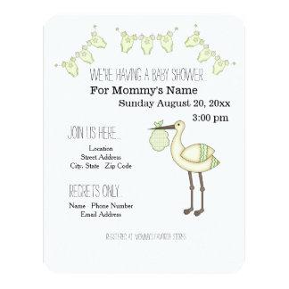 Stork Baby Shower Invitations - Green