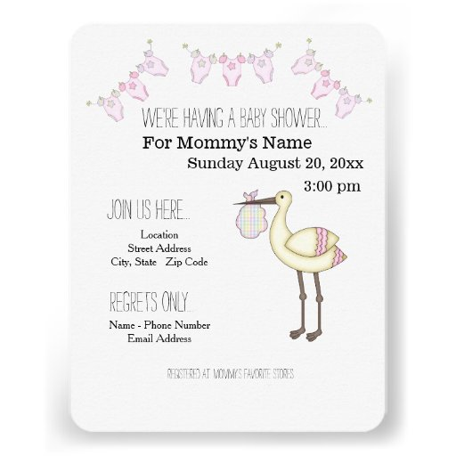 Stork Baby Shower Invitations - Pink