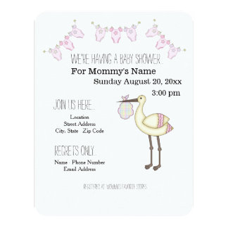 Stork Baby Shower Invitations - Pink