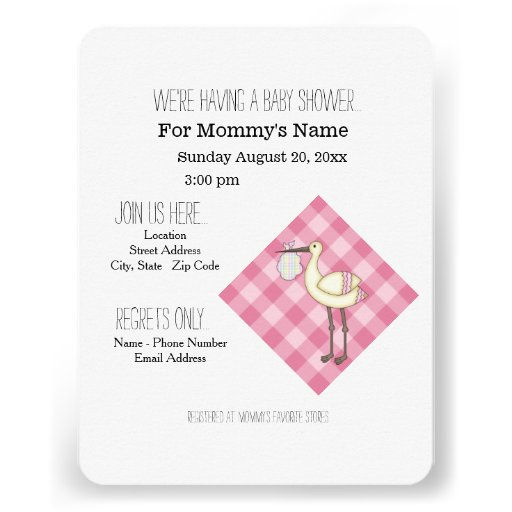 Stork Baby Shower Invitations - Pink Check