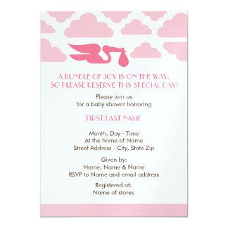 "Stork Baby Shower Invite Girl 5"" X 7"" Invitation Card"