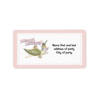 Stork Baby Shower labels