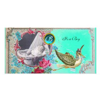 STORK BABY SHOWER MONOGRAM ,aquamarine,white Photo Card