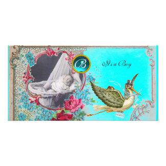 STORK BABY SHOWER MONOGRAM ,aquamarine,white Photo Card Template