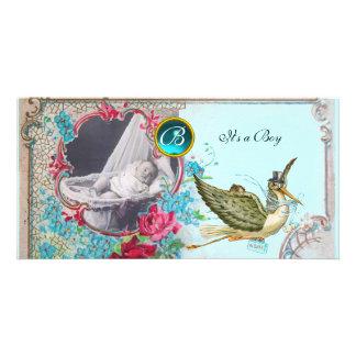 STORK BABY SHOWER MONOGRAM ,aquamarine,white Photo Greeting Card