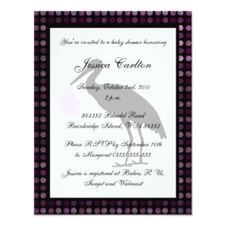Stork Baby Shower - Pink 11 Cm X 14 Cm Invitation Card