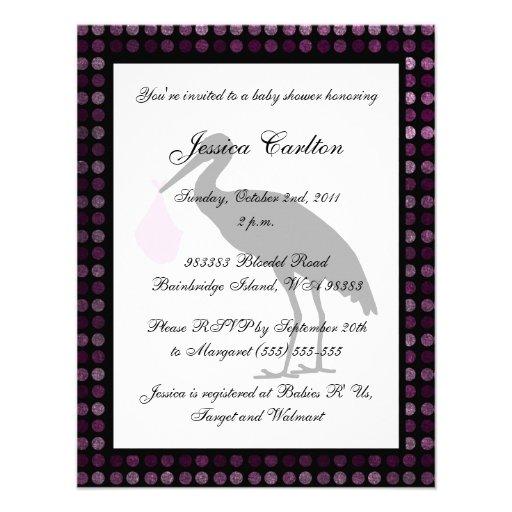 Stork Baby Shower - Pink Custom Invitations