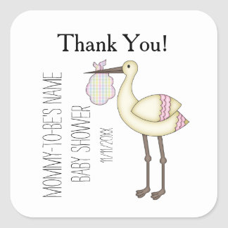 Stork Baby Shower Pink Thank You Stickers