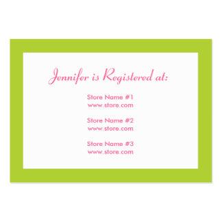 Stork Baby Shower Registry Card - Pink & Green Business Card Templates