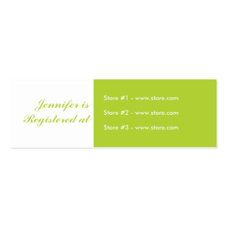 Stork Baby Shower Small Registry Card - Green Business Card