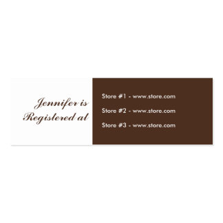Stork Baby Shower Small Registry Card - Pink/Brown Business Cards
