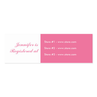 Stork Baby Shower Small Registry Card - Pink Business Card Templates