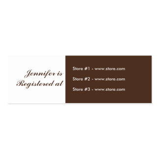 Stork Baby Shower Small Registry - Green/Brown Business Card