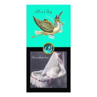 STORK BABY SHOWER SQUARE MONOGRAM ,aquamarine Custom Photo Card
