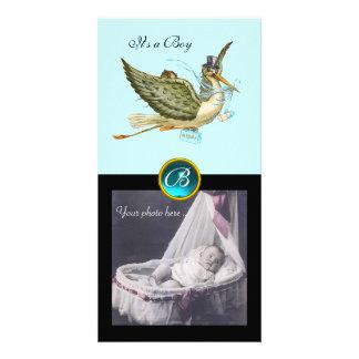 STORK BABY SHOWER SQUARE MONOGRAM ,aquamarine Photo Card