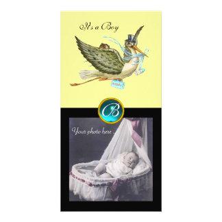 STORK BABY SHOWER SQUARE MONOGRAM ,aquamarine Personalized Photo Card