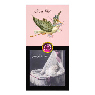 STORK BABY SHOWER SQUARE MONOGRAM ruby Customized Photo Card
