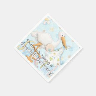 Stork Blue Boy Baby Shower Paper Napkins